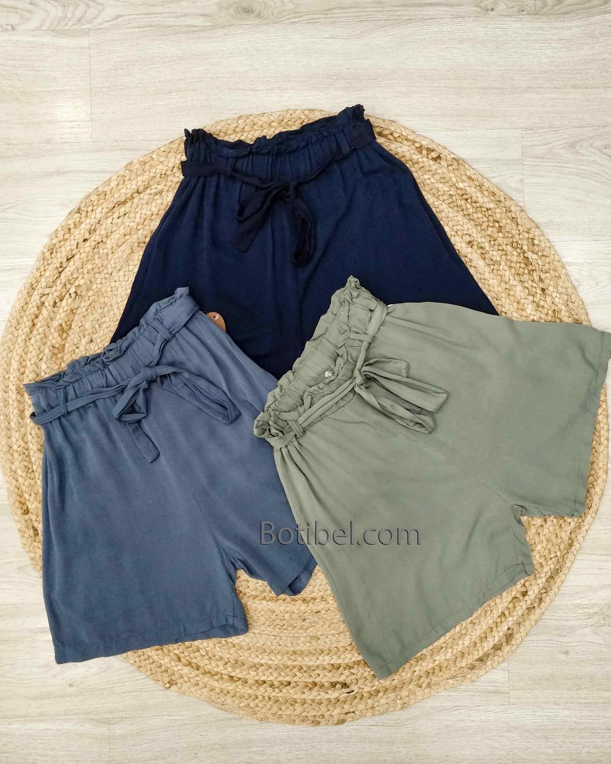 Pantalones Colores Cortos Tiro Alto Fluidos Suelto Cintura Engomada Anchos Mujer Botibel Com